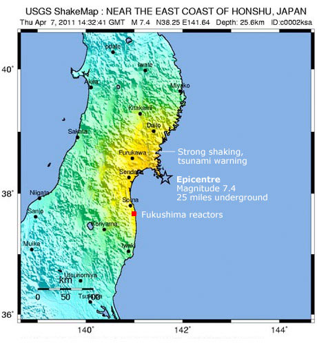 map of japan tsunami. Japan, quake location map from