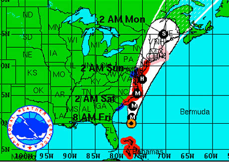 Map: hurricane Irene expected path (small image)