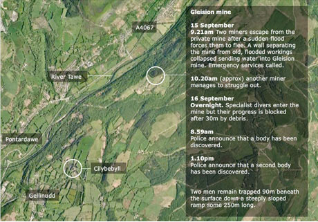 Screen grab - Welsh mine tragedy interactive