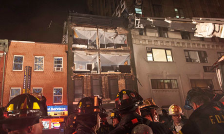 Partially collapsed building in Manhattan