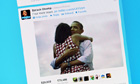 Barack and Michelle Obama hug photo