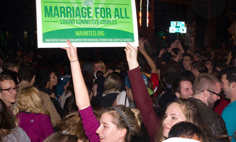 Party in the streets of Seattle for gay marriage and legal marijuana