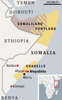 Somalia Al-Shabaab map