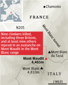 Map - Mont Maundit avalanche deaths