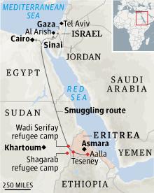 Eritrea smuggling map