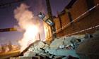 Aftermath of meteor shower in Chelyabinsk, Russia