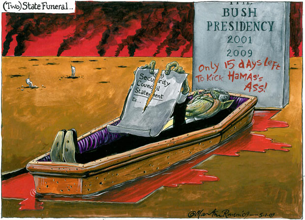 Martin Rowson cartoon - Israel has yet to learn the US lesson, that the war on terror was a failure