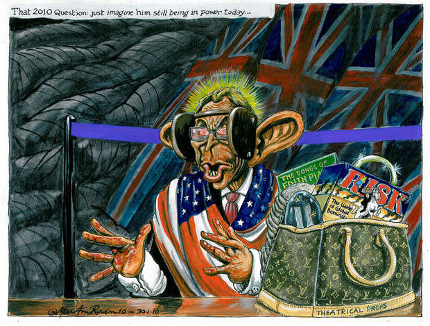 Martin Rowson cartoon of Blair...  The 2010 Question: Just imagine him still being in power today...