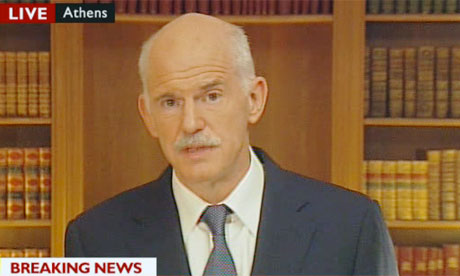 Greek Prime Minister George Papandreou makes a statement