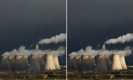 EON Powerstation at Ratcliffe-on-Soar. The edited version of the image is on the right