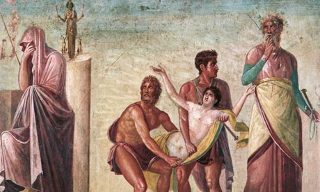 Ancient Roman fresco painting of The Sacrifice of Iphigenia