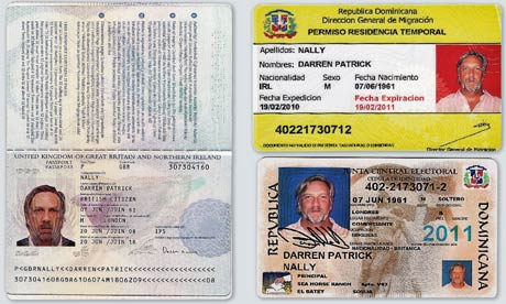 Michael Brown's false identity of Darren Nally appears on a Uk passport and on identity documents