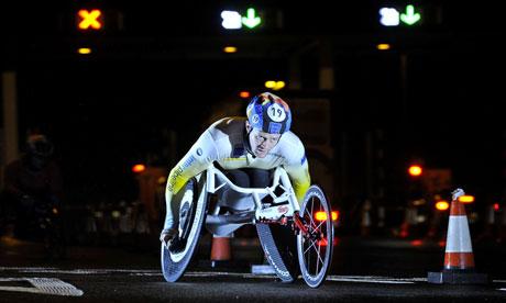 Josh Cassidy, winner of the 11th annual Tyne Tunnel 2K wheelchair race.