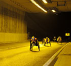 Aron Anderson leads the field during the 11th annual Tyne Tunnel 2K wheelchair race.