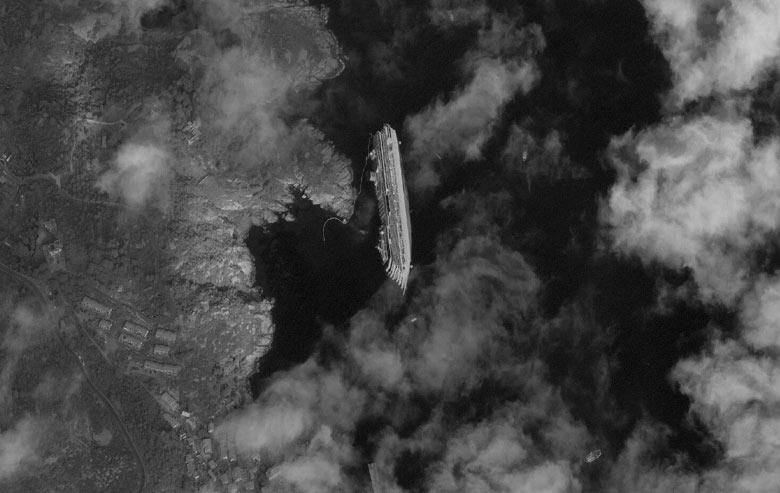 Satellite image of the capsized ship Costa Concordia