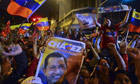 Supporters of Venezuelan President Hugo Chavez celebrate after receiving news of his re-election