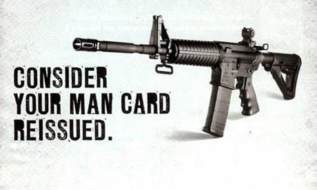 An advert for a rifle fro 007 Our country committing suicide