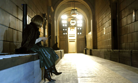 Anna Wintour waits for the start of the Victoria Beckham show at the New York Public Library