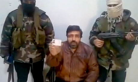 Free Syrian Army with captive in Homs