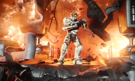 A preview of the game Halo 4 on screen at the  Microsoft E3 XBOX 360 media briefing
