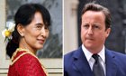Aung San Suu Kyi and Prime Minister David Cameron