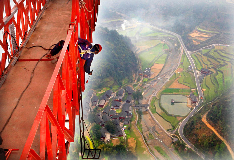 Aizhai extra large suspension bridge in Hunan, China