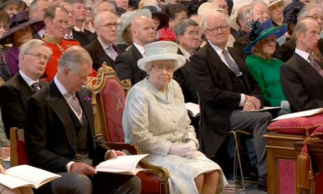 Queen Elizabeth II with Prince Charles at the service of thanksgiving at St Paul's Cathedral 