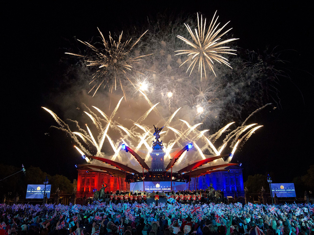 Buckingham Palace is illuminated by a fireworks display during the diamond jubilee concert