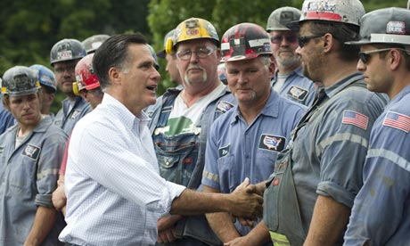 Mitt Romney greets coal miners at the American Energy Corporation in Beallsville, Ohio