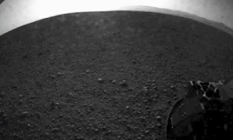 One of the first images from the Curiosity rover of its wheel after it successfully landed on Mars