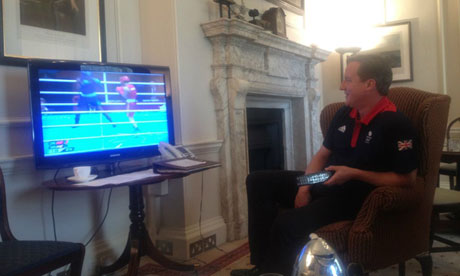 David Cameron watching the boxing