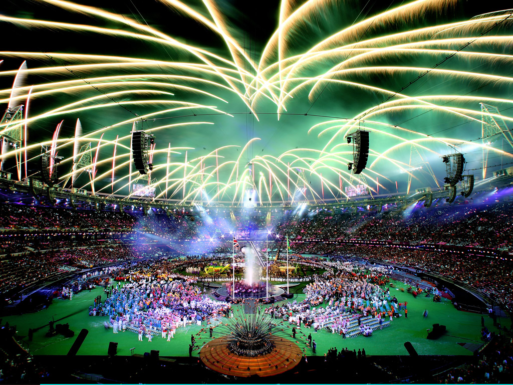 Fireworks light up the Olympic Stadium during the closing ceremony of the 2012 Paralympic Games
