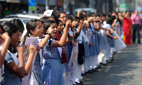 Bangladeshi school girls participate in a One Billion Rising rally in Dhaka