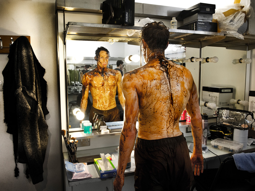 An oil-soaked Edward Watson in his dressing room after dancing in The Metamorphosis