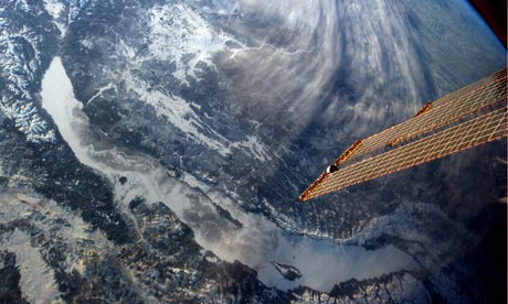 Lake Baikal, Siberia photographed by Chris Hadfield on the International Space Station
