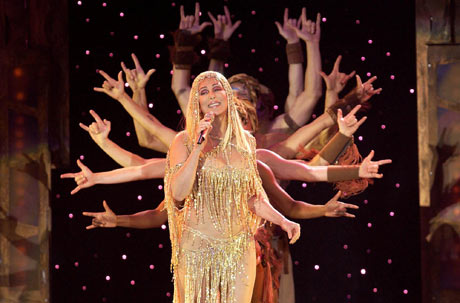 Singer Cher performs at Wembley Arena in 2004