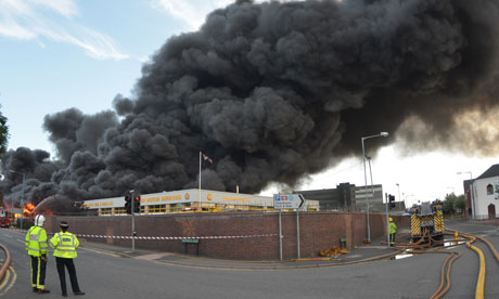 Smoke from a fire fills the air at a recycling plastics yard in Smethwick