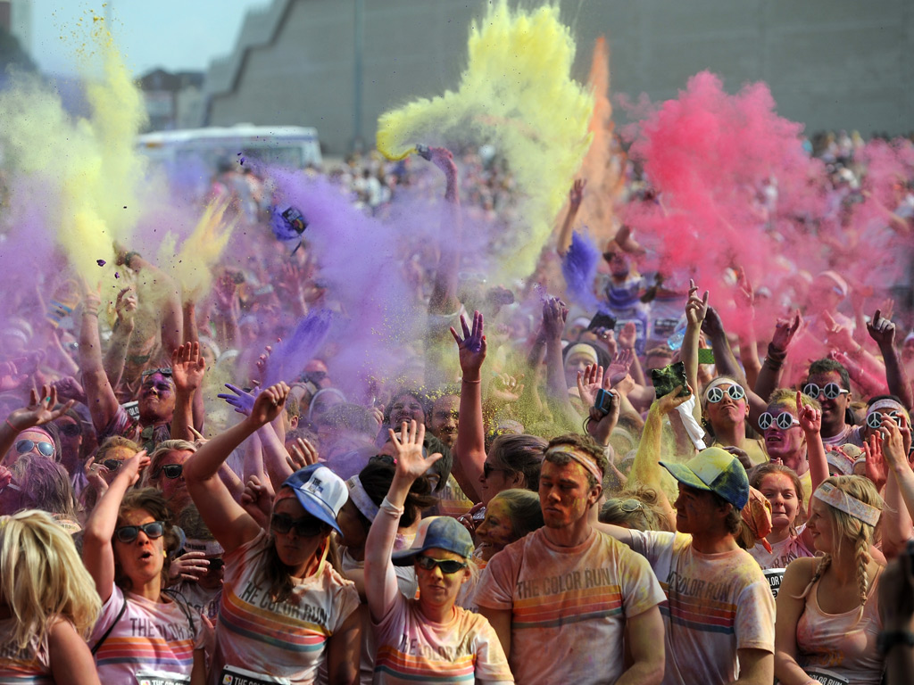 Runners soak up the atmosphere during the 5km Color Run