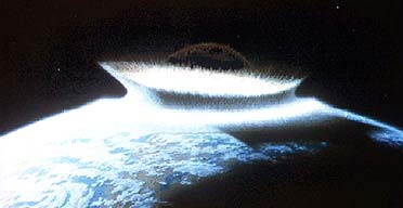 Artist's impression of the impact a meteorite could have on the Earth
