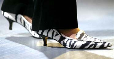 The shoes worn by Tory party chairwoman Theresa May as she addressed the party conference in Blackpool