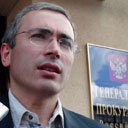 Mikhail Khodorkovsky, head of Russian oil giant Yukos, outside General Prosecutor's Office