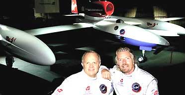 Steve Fossett (left) and Sir Richard Branson stand in front of the GlobalFlyer aircraft. Photograph: Virgin Atlantic
