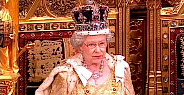 The Queen sits on the throne in the House of Lords as she delivers the Queen's speech