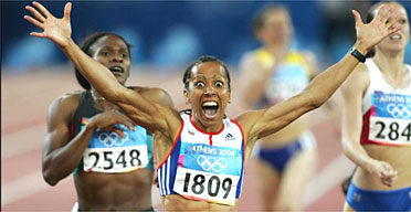 Image of the year: Kelly Holmes celebrates winning the 800 metres final at the 2004 Olympics  in Athens. Photograph: Tom Jenkins