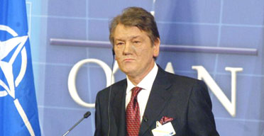 The Ukrainian president, Viktor Yushchenko, speaks at today's Nato summit in Brussels. Photograph: Getty Images