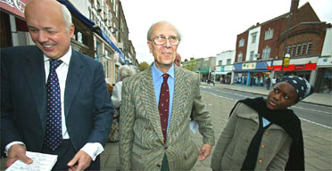 Iain Duncan Smith campaigning in Chingford and Woodford Green with his precessor Lord Tebbit