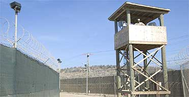 A guard in a tower at Camp Delta 1 in the Guantánamo Bay detention centre in Cuba