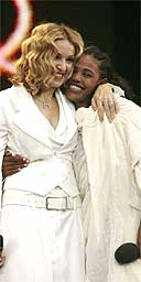 Madonna with Birhan Woldu at Live8 in Hyde Park, London