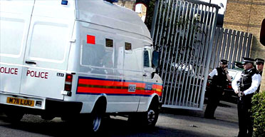 A police van arriving at Belmarsh prison