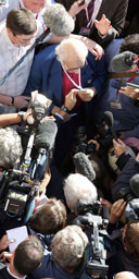 Walter Wolfgang, 82, is surrounded by media as he returns to Labour Party conference  following his forceable ejection for heckling Jack Straw. Photograph: Toby Melville/Reuters